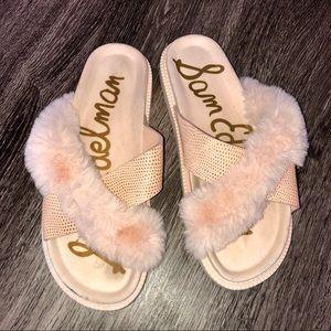 Sam Edelman Pink Fuzzy Slides